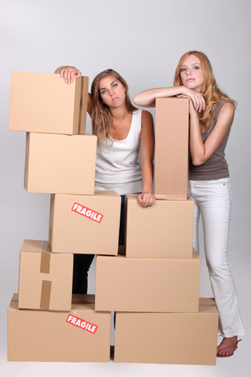 Two female friends moving house