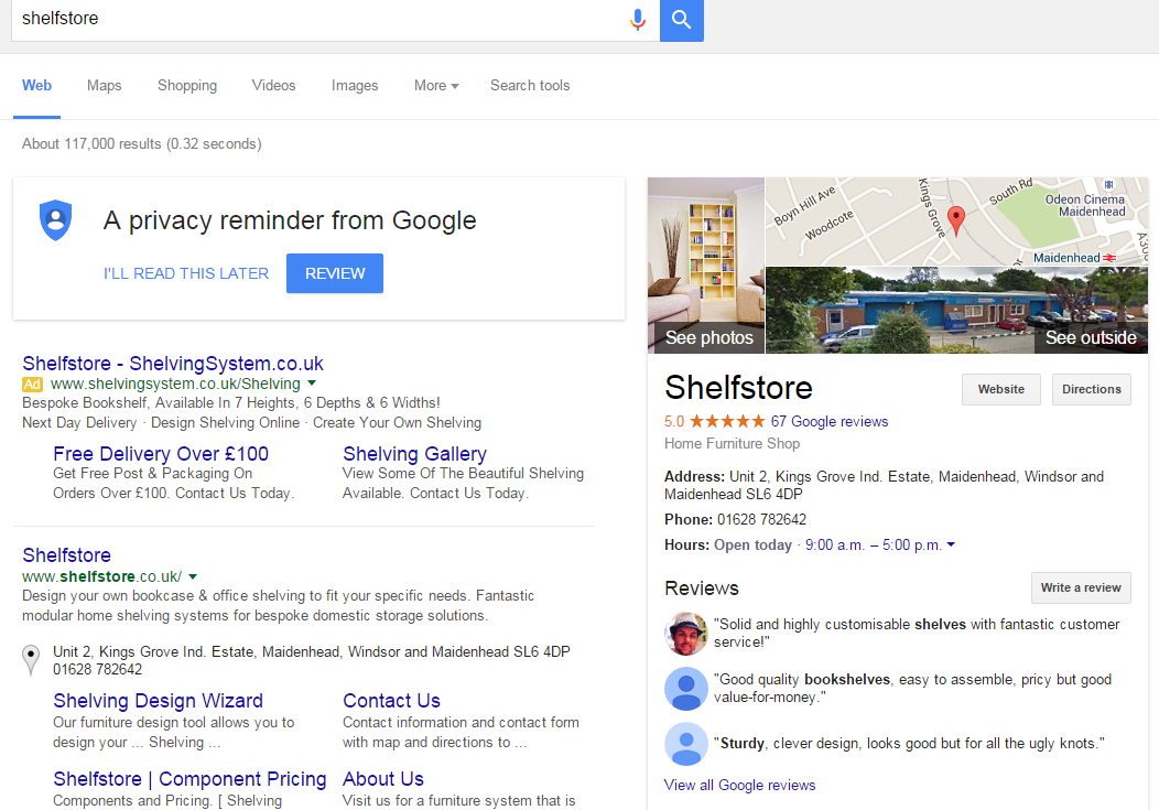 shelfstore google review