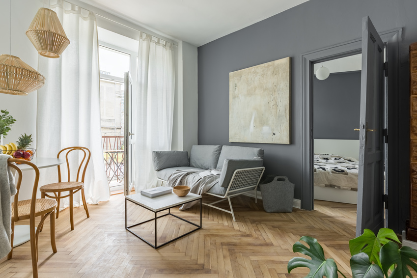 Living room, dining space and bedroom in scandinavian styled flat